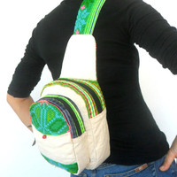 Sling Backpack crossbody bag Sling bag shoulder bag Messenger Bag Backpack Artistic bag Hippie Boho Hobo Bag Sling White Cream Green Color