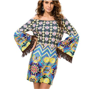 Steph Bohemian Off Shoulder Bell Sleeve Dress Sizes S-XXXL