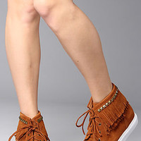 Jeffrey Cambell Sneaker Moccasin in Tan Suede and Bronze Stud