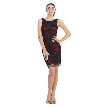 Bodycon Corded Lace Sleeveless Short Cocktail Dress Black/Red