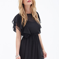 LOVE 21 Ruffled Chiffon Dress Black