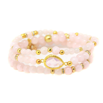 Pink Goddess Bracelet Set in Light Pink and Gold