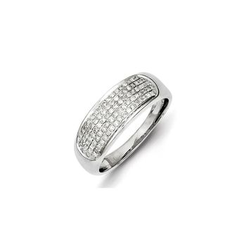 Sterling Silver Five Row Diamond Band Ring