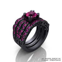 Modern Vintage 14K Matte Black Gold 1.0 Ct Pink Sapphire Solitaire Ring Double Wedding Band Bridal Set R322S2-14KMBGPS