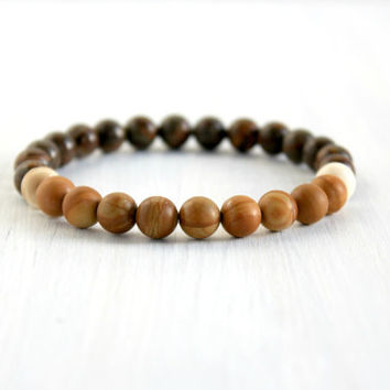 Brown Wood Gemstone Stretch Bracelet Men Bohemian Natural Jewelry Mala Yoga Bead Bracelet