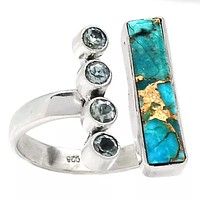 Blue Topaz & Blue Copper Turquoise Sterling Silver Oblong Ring