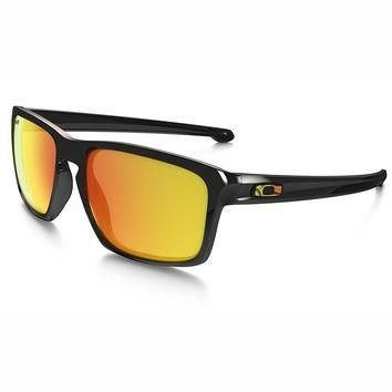 Oakley 009262-27 VR46 Valentino Rossi Polished Black Silver Rectangle Sunglasses