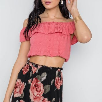 1c6d3aa3fd4ee Canyla Ash Boutique  16.00  10.00. Coral Off-the-shoulder Flounce Crop Boho  Top