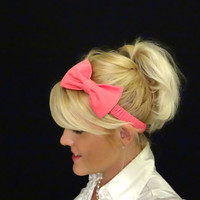 Hot pink bow stretch headband pinup/feminine/kawaii