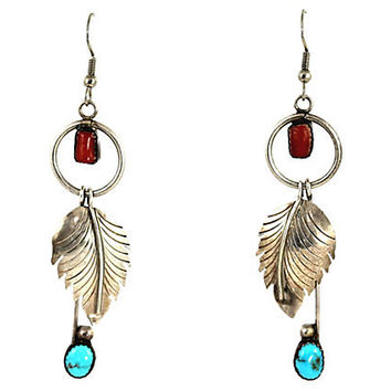 Navajo Silver Turquoise Feather Earrings