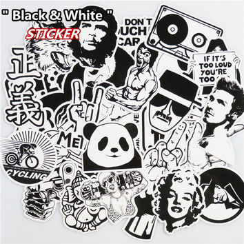 100 Pcs/50 Pcs Black And White Sticker Luggage Skateboard Car Styling Vinyl Deacals Motorcycle Laptop Cool Doodle DIY Stickers