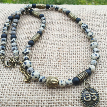 Mens Buddha Necklace Dalmatian Jasper Matte black Onyx Om Pendant Choker Mens Jewelry Gemstone Necklace Buddhist Spiritual Necklace Gifts