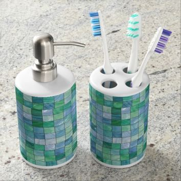 Shiny Pastel Blue Green Glass Block Tile Mosaic Soap Dispenser And Toothbrush Holder
