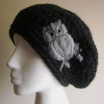 Charcoal And Gray  Owl Slouchy Hat