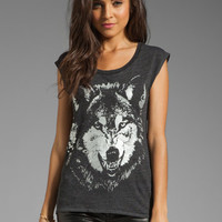 Chaser Foiled Wolf Tri-Blend Drape Back Tee in Black from REVOLVEclothing.com