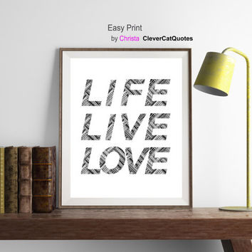 Modern minimalist print | life life love | Office inspirational quotation  | Scandinavian style |  Wall  decor | Instant download | Ethnic