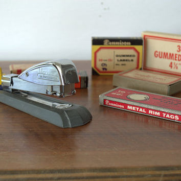 RARE 1920s Art Deco Markwell SX Stapler with  Vintage Industrial Office Supplies
