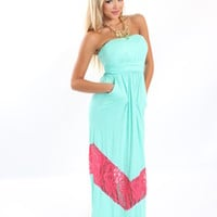 Laced in Chevron Strapless Maxi Dress - Modern Vintage Boutique