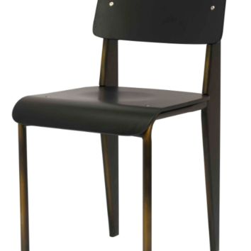 Prouve Style Side Chair - Black and Copper