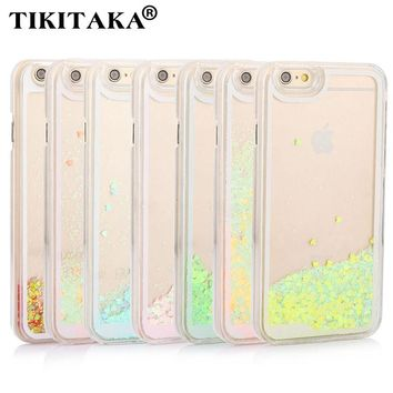 Liquid Glitter Quicksand love Heart Phone Cases For iphone 5 5s SE 6 6s Plus 6plus Candy Color Clear Hard Cover Cases FREE SHIPPING