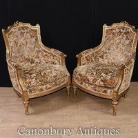 Canonbury - Pair French Arm Chairs - Empire Fabric Gilt Fauteuils