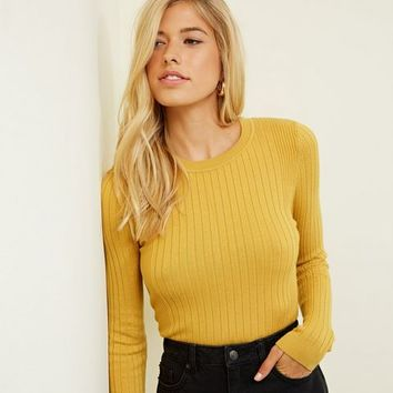 Mustard Crew Neck Ribbed Jumper | New Look