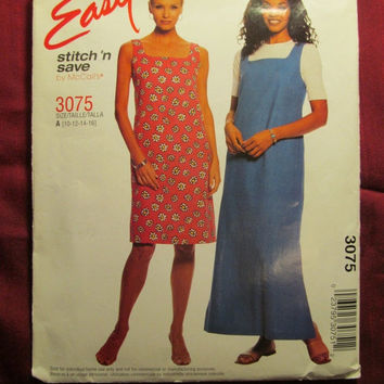SALE Uncut McCall's Sewing Pattern, 3075! 10-12-14-16 Small/Medium/Large/women's/Misses/Sleeveless Dresses/Sundress/Jumpers/Petite Dress