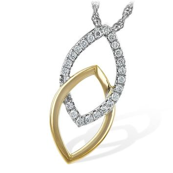 14K Yellow and White Gold 1/5cttw Apex Interlocking Diamond Necklace
