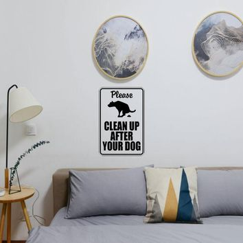Please clean up after your dog #2 Sign Vinyl Wall Decal - Removable (Indoor)