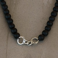 Black Onyx Necklace with Sterling Silver Cuffs