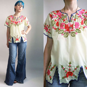 60s 70s Boho Top Embroidered Hippie Shirt Festival Fashion Lightweight Cotton Colorful Flowers Floral Spring Summer Top Womens Medium Large