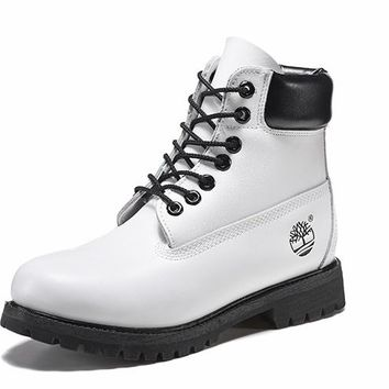 Best Deal Online Timberland 10061 Leather Lace-Up Boot Men Women Shoes Black White