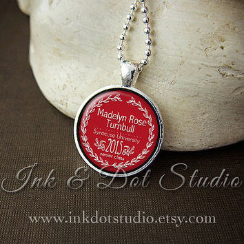 Personalized Class of 2015 Graduation Necklace, Custom 2015 Pendant, 2015 Senior Graduation Gift, Red or Choose School Color
