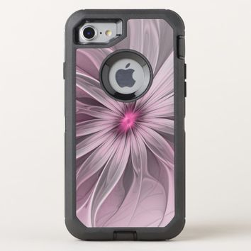 Pink Flower Waiting For A Bee Abstract Fractal Art OtterBox Defender iPhone 8/7 Case