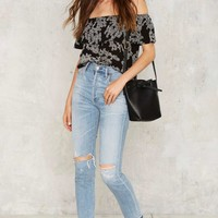 After Party Vintage Blackbird Off-the-Shoulder Top