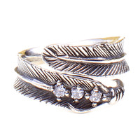 Sterling Silver Feather & Crystals Ring