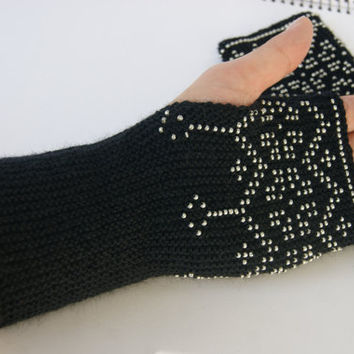 Handmade long beaded black  Wrist warmers, cuffs with silver beads, wool, flowers ornament  Ready to ship