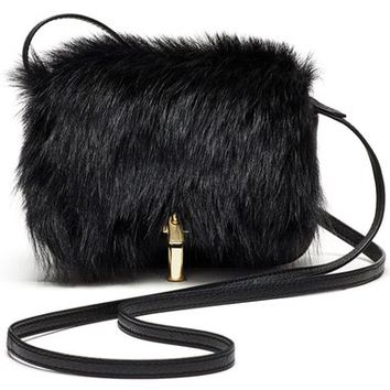 Elizabeth and James 'Cynnie' Leather & Genuine Sheep Fur Crossbody Bag | Nordstrom