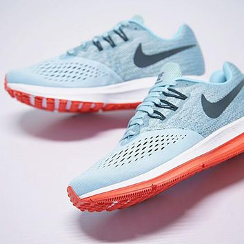 """nike zoom WINFLO 4 Running Shoes """"Light Blue""""898466-440"""