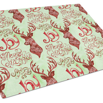 Merry Christmas Joy Reindeer Glass Cutting Board Large BB7488LCB