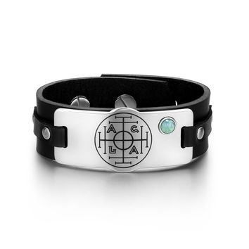 Fortune Wealth and Success Magic Circle Amulet Green Quartz Gemstone Adjustable Black Leather Bracelet