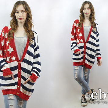 Oversized Flag Cardigan Oversized Cardigan Oversized Knit Flag Jumper Oversized Jumper USA Cardigan Vintage 90s American Flag Sweater S M L