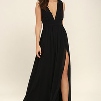 Heavenly Hues Black Maxi Dress