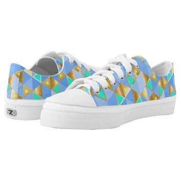 Blue, Turquoise, and Gold Triangles Patterned Printed Shoes