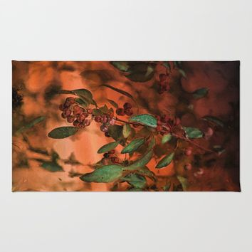 Red Berry Tree at Sunset Rug by Theresa Campbell D'August Art