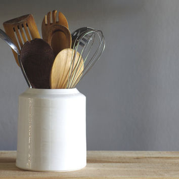 RESERVED white utensil crock. modern simple ceramic pottery