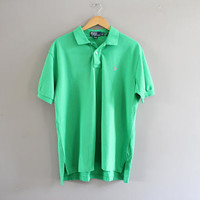 Ralph Lauren Polo Tee Green Cotton Knit Classic Polo Button Up Short Sleeve Tee Minimalist Vintage 90s Size L #T178A