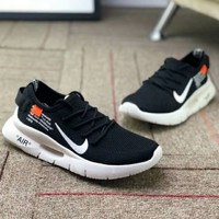 Nike Air Max 87 OG & OFF-WHITE Comfortable Breathable Lightweight Running Shoes F-CSXY black