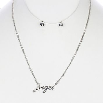 Sliver Metal Name Bib Necklace And Earring Set