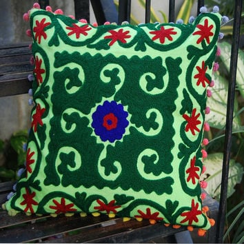 Pillow cases Wool Embroidered Indian Art Cotton Suzani Covers Uzbekistan style Handmade Pillow Decorative Pillow High fashion Hippie Boho